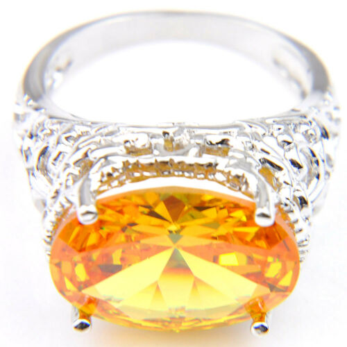 Amazing Shiny Platinum Plated Natural Golden Citrine Flower Woman Ring Size 7 8