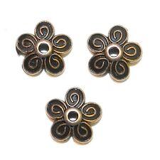M398p Antiqued Copper 10mm Round 5-Petal Filigree Flower Bead Caps 50/pkg