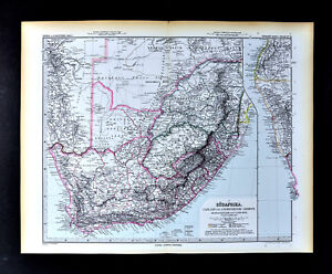 1892 Stieler Map British South Africa Cape Town Natal Kalahari