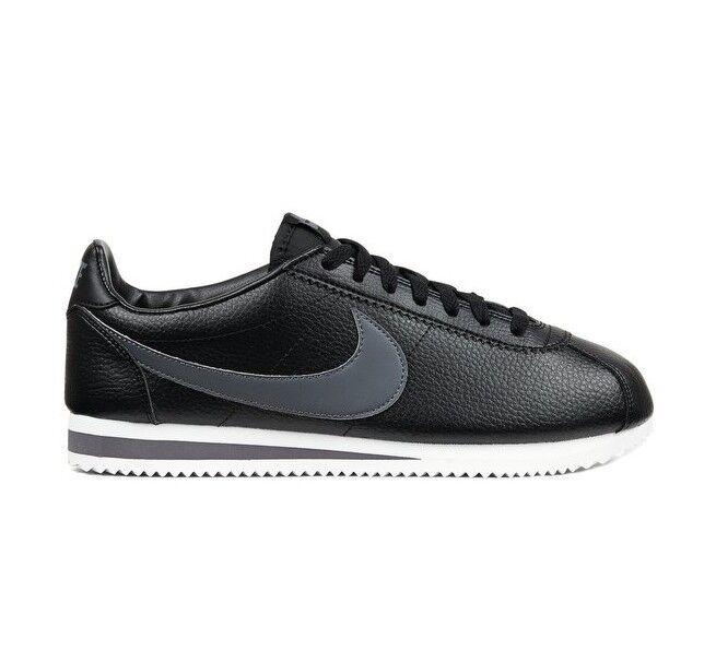 Nike Classic in Cortez in Classic Pelle EUR 44.5 NUOVO Nero/Grigio Scuro/Bianco 749571 011 034025