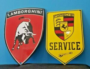VINTAGE-LAMBORGHINI-PORCELAIN-GAS-OIL-AUTO-STATION-ITALIAN-DEALERSHIP-SIGN