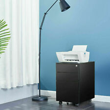 New Listingrolling File Cabinet Heavy Duty Mobile Storage Filing Cabinet With 3 Drawers Black