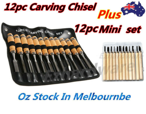24PC WOOD CARVING CHISEL SET WOOD CUTTING CHISEL 12PC + 12PC MINI CARVING CHISEL