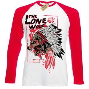 The-lone-wolf-T-Shirt-chieftan-indian-headress-Mens-Baseball-t-shirt