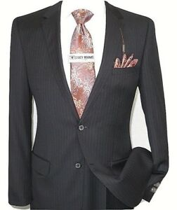 Mens Wool Cashmere Blue Pinstripe Business Suit Giorgio Cosani Two Button 910