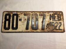 VINTAGE 1922 Nebraska Unissued Steel License Plate, Sioux County No. 80-707.