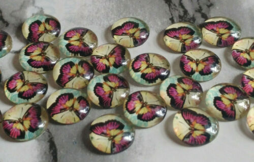 12MM Pink Butterfly Glass Cabochons Dome Flatback Half Round NEW 15PCS DIY