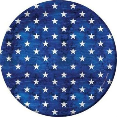 Patriotism Blue and White Stars 7 inch Paper Plates 8 pack