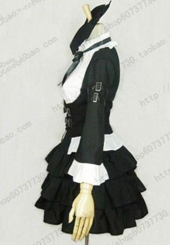 Details about  /0Fairy Tail Erza Scarlet Black Maid Dress Cosplay Uniform HSTM