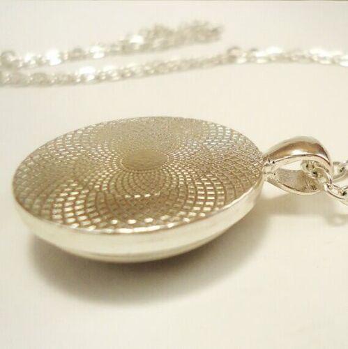 Vintage Christmas Cabochon Tibetan silver Glass Chain Pendant Necklace #2900