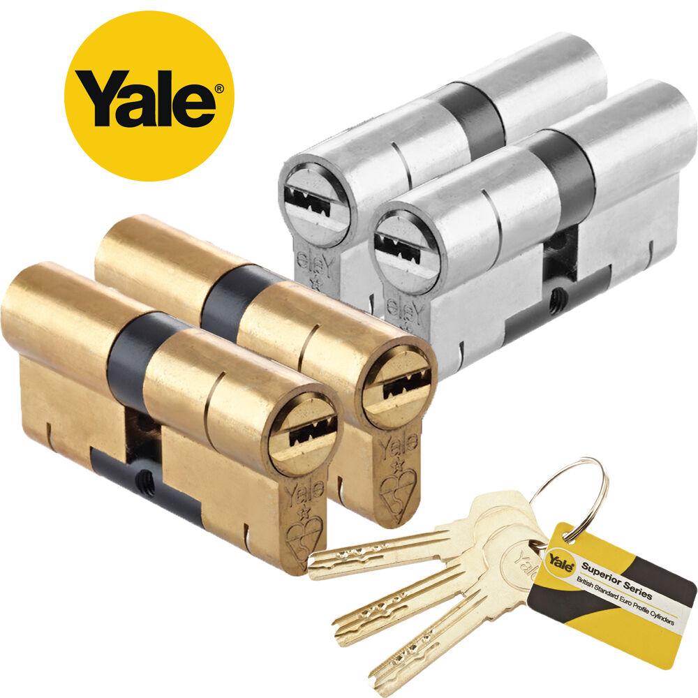 Yale Superior Anti-Snap Euro Door Cylinders 45//55, Nickel