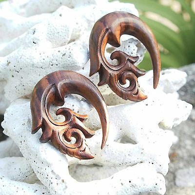 Organic Handmade Carved Sono Wood Curled Floral Hook Ear Plugs Gauges New USA