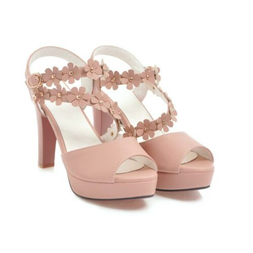 Womens Trendy Sweet Flowers Peep Toe Pumps High Heels Sandals Slingbacks Size