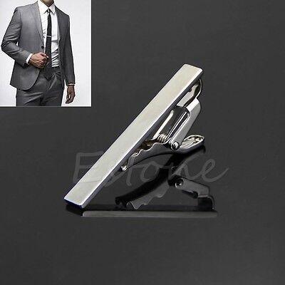 High Quality Men Metal Silver Tone Simple Necktie Tie Bar Clasp Clip Clamp Pin