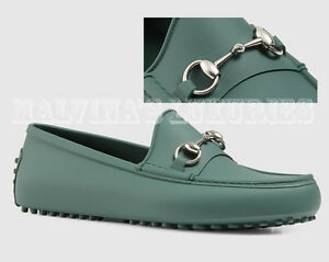 26544a31abc Image is loading GUCCI-MENS-SHOES-GREEN-RUBBER-HORSEBIT-DRIVER-MOCCASINS-