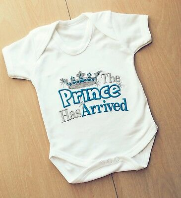PRINCE HAS ARRIVED PERSONALISED BABY VEST BODYSUIT FUNNY NEWBORN GIFT OUTFIT