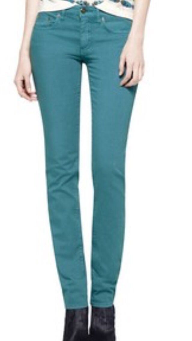 Tory Burch Women's Jeans Ivy Super Skinny Teal Stretch Size 26 X 33 NWT  195