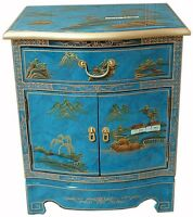 Mottled Blue Lacquered Artistry Design Side Cabinet Oriental Furniture Chinese