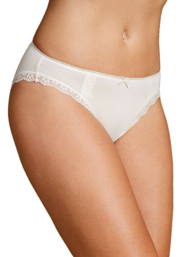 M /& S Size 12 Cotton Rich High Leg Knickers Panties Briefs Cream