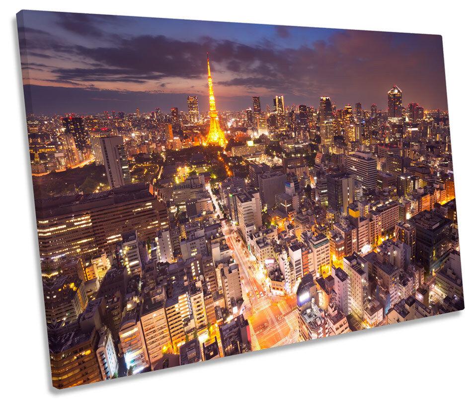 Torre Torre Torre de Tokio Japón Skyline SINGLE LONA parojo arte Foto impresión e534a3