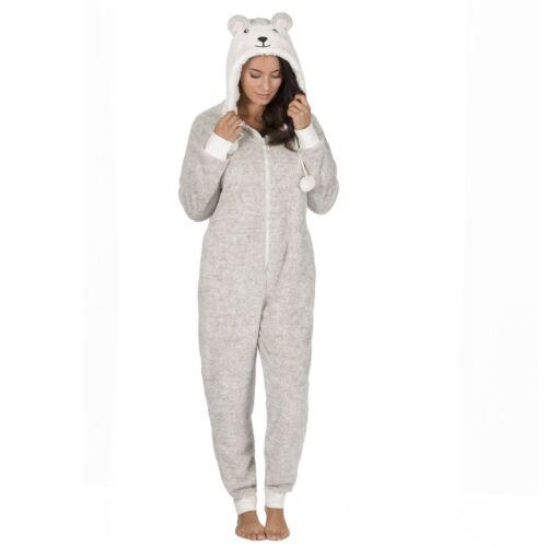 All In One Pyjamas Loungewear Size 8-22 Women/'s Animal Hooded Fleece Onezee