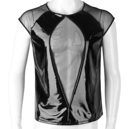 Herren T-Shirt Slim Fit Tee Kurzarm Unterhemden Lack Leder /& Mesh Shirt Clubwear