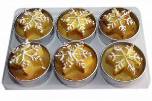Teelichter-Schneeflocke-6-Stueck-gold-brau-Weihnachtskerzen-Advent-Dekoration-Neu