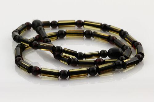 Greenish Cylinder Beads Genuine BALTIC AMBER Unisex Necklace 7g n160309-1