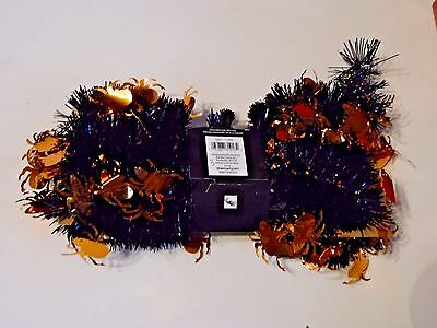 9 Ft Orange Black Halloween Spiders Fall Tinsel Autumn Decoration Thanksgiving