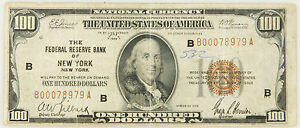 Details about 1929 $100 BILL NATIONAL CURRENCY FEDERAL RESERVE BANK OF NEW  YORK