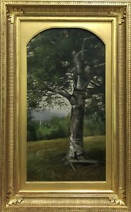 """""""Birch Tree in the White Mountains, Maine,"""" Hudson River School Landscape"""