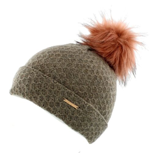 Alice Hannah Eden Knitted Bobble Hat with Faux Fur Pom Brown//Green//Grey