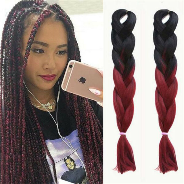 24 Ombre Black Burgundy Kanekalon Jumbo Synthetic Braiding Hair Extensions