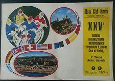MOTO CLUB RIMINI RENZO PASOLINI PROGRAMMA XXV° RADUNO RSM RIMINI 1-2 GIUGNO 1974