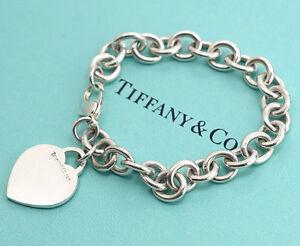 TIFFANY-amp-Co-Heart-Tag-Charm-Bracelet-Sterling-Silver-925-Bangle-NN