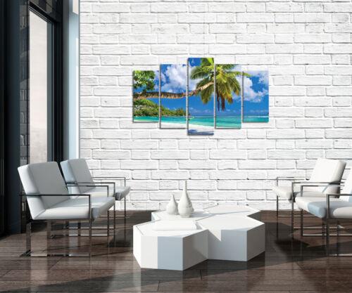 Set (5 pièces) fabriquée la fresque plage palme sable tropicale d'eau 3fx10332s17