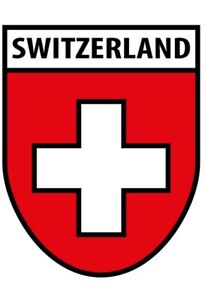 Switzerland Emblem Tin Sign Shield Arched Metal 20 X 30 CM