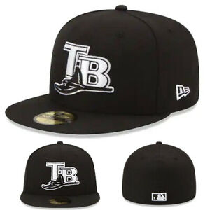 New-Era-Tampa-Bay-Rays-Fitted-Hat-MLB-League-Basic-Black-White-Logo-Game-Cap