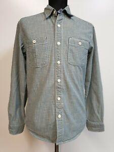 BB273-para-Hombre-Levi-039-s-Azul-Gris-cheque-L-Manga-Camisa-De-Algodon-Ajuste-Estandar-Reino-Unido