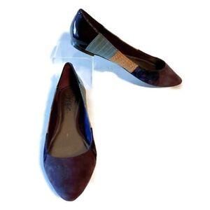 Fergie-Game-Flats-Size-7M-Purple-Pinstripe-Corduroy-Patent-Leather