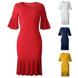 Women-Plus-Size-Party-Dress-Elegant-Solid-Pleated-Half-Sleeve-Midi-Dress