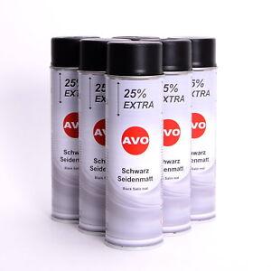 AVO-schwarz-seidenmatt-Lackspray-Spruehlack-6-x-500ml-Autolackspray-A026SV