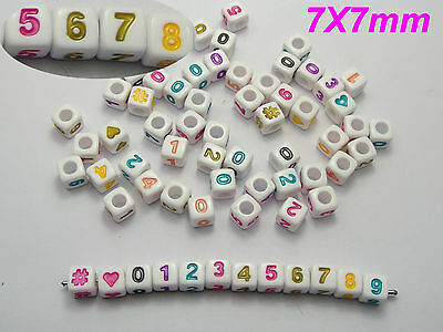 "1000 White with Colourful Assorted Number ""#"" Acrylic Cube Pony Beads 7X7mm"
