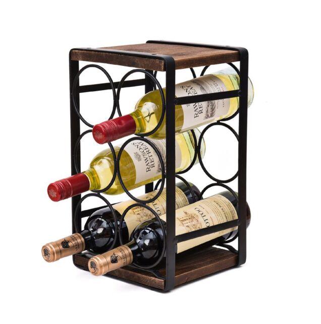 Soduku Metalwood Countertop Wine Rack 6 Bottles No Need Assembly Ebay