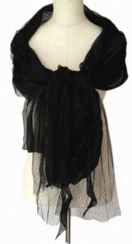 FLIRTY Net over Shimmer BLACK or CREAM with FLOWER Wedding Evening Shawl Scarf