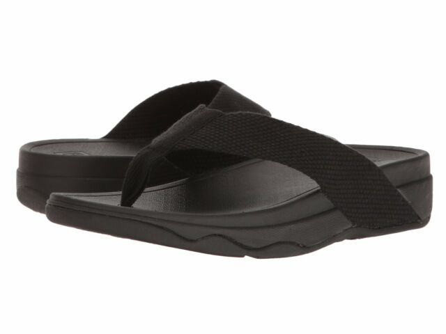 32f087354ad5 FitFlop Surfa Flip Flops H84-001 Black Webbing Sandals Medium (b M ...