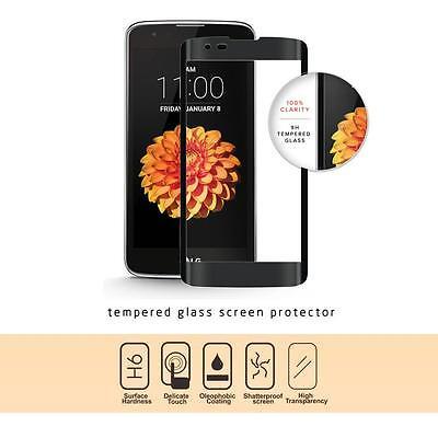 BLACK FULL SCREEN TEMPER GLASS PHONE SCREEN PROTECTOR FOR LG TRIBUTE 5 / LG K7
