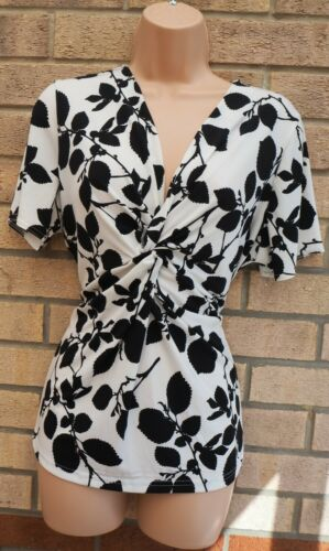 ANTHOLOGY WHITE BLACK FLORAL TWISTED KNOT LYCRA BLOUSE T SHIRT TOP 16 XL