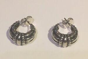 James Avery Rare Retired Large Thatch Hoop Earrings Ebay