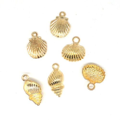Or 10X Conch Shell Alliage Charms Pendentifs Fit À faire soi-même Collier Jewelry Craft Making